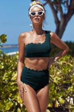 Green High Waist Scalloped Trim One Bikini Bahu