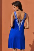 Blauwe korte Jersey V-jurk
