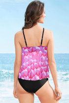Rose Mesh Petal Print Top Tankini Plavky