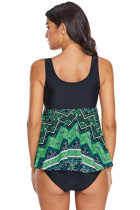 Grøn Levende Print Skirted Tankini Swim Top