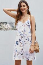 Beyaz Çiçek Desenli Düğmeli Kayma Cami Elbise