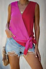 Red û Rose Colorblock Drape Tie Tank Top