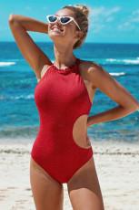 Jednoczęściowe stroje kąpielowe z wycięciem na szyi i czerwoną falbanką