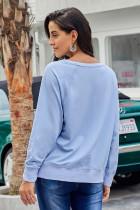 스카이 블루 프렌치 테리 코튼 블렌드 풀오버 스웨트 셔츠