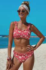 Rose Floral Print Crop Top Bikini Set