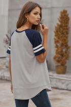 그레이 컬러 블록 대비 반팔 티셔츠