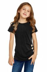 Svart side knapp detalj kortærmet skjorte for små jenter