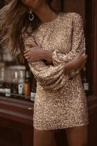Gull Puffy Erme Sequin Party Minikjole