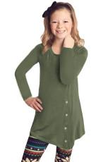 Zöld kislány hosszú ujjú gomb tunika