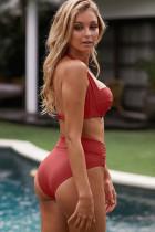 Sutien roșu Shirring gât bikini cu talie înaltă