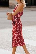 Piros nyomtatású Midi ruha