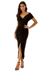 Black Glitter Off Shoulder Ruched Slit Dress Party