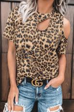Leopard leikattu T-paita