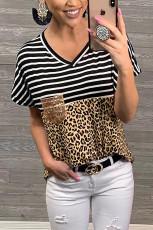 Musta raidat Leopard tulosta V kaula-paita