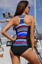 Zip Front Striped Racerback Tankini Top