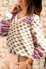 화이트 빈티지 프린트 V 넥 스웨트 셔츠