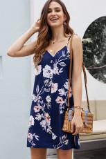 Mavi Çiçek Desenli Düğmeli Kayma Cami Elbise