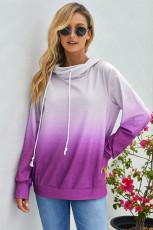 Lila Ombre Pullover Långärmad luvtröja