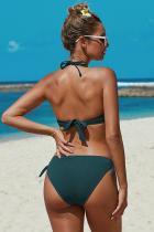 Grün geknotete geraffte Bikini-Badebekleidung