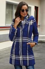 Blå vintage plaid quiltet grøftecoat