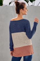 Blaue Farbe Block Rundhalsausschnitt Bluse
