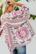 Witte bloemen Kimono Cardigan Open Front Cover Up