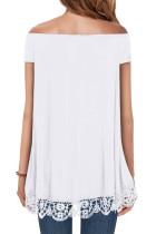 Branco fora do ombro A-Line Lace Trim Blusa