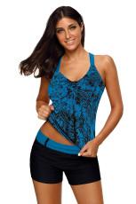 Bluzka Tankini z niebieskim kwiatowym nadrukiem