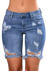 Голубые джинсовые рваные рваные шорты