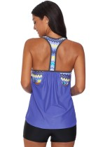Sky Blue Blouson Striped Printed Strappy T-Back Tryck upp Tankini Top