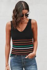 Multicolor strepen zwart gebreide tanktop