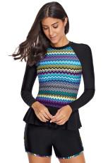 Shorts Rashguard e Shorts multicolore a zigzag