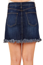 Blue Distressed Hem Denim Skirt