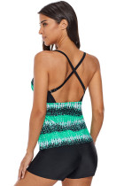 Levende Green Print Cross Back Tankini Top