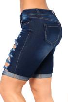 Темно-синие джинсовые рваные шорты-бермуды