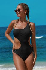 Svart One Shoulder Cut Out Maillot