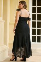 비대칭 프릴 어깨 디자인 플러스 사이즈 레이스 드레스 블랙