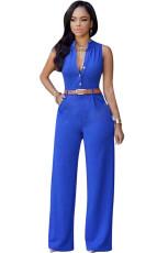 Blue Notched Neck Buttoned Jumpsuit mit Gürtel