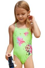 Neon Green Floral i Birds Little Girls Jednoczęściowy strój kąpielowy