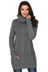 Grå Cowl Neck Cable Knit Sweater Dress