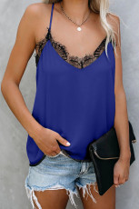 Blue Eyelash Lace Trim Cami Tank