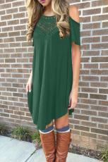 Laço verde oco-out ombro frio vestido casual
