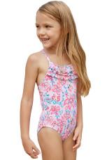 Maillot di bambine del bambino di Ruffles di multi-strato blu rosa