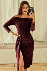 Gaun Off Off Ruched High Slit Sequin Dress