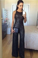 Black Geometric Stripe Sequin Spahetti Strap Wide Leg Jumpsuit