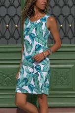 Синее / зеленое платье-майка с принтом листьев