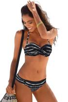 Svart Boho Stripes Tryck upp Bikini Set