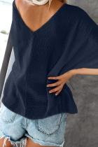 Blau einweichen Baumwolle Button-down-Bluse
