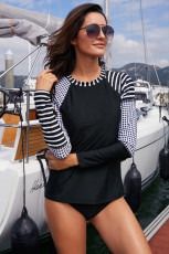 Striped & Dotted Asymmetric Raglan Sleeve Rashguard Top