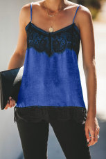 Tankê Blue Satin Lace Cami